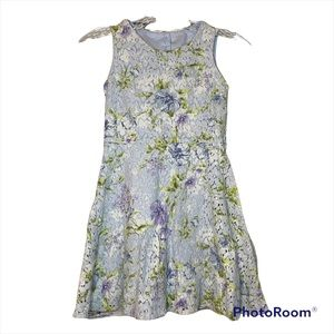 Children's Place Blue Sleeveless Lace Floral Fit & Flare Open Back 8